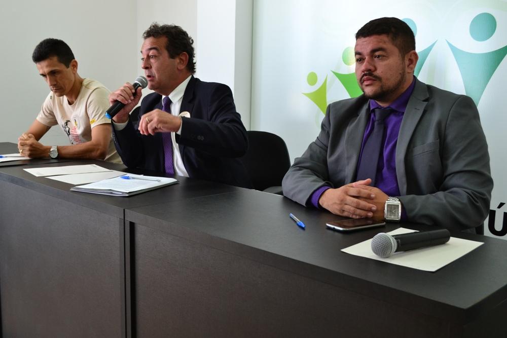 Dr. Darcio Rufino, Dr. Helbert Maciel e o Ouvidor Nayro Victor Lemos