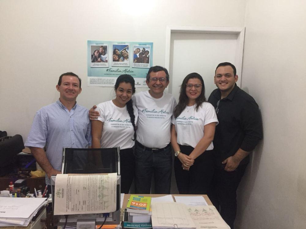 Equipe da 2ª Defensoria Pública Regional de Parnaíba: Dr. Marcos Siqueira, colaborada Marcela de Paiva Laurentino e estagiários Lucas Leite, Shayene Monteiro e Almino Franco