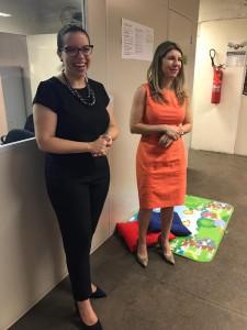 Dra. Carla Yáscar e a Dra. Ana Patrícia Salha durante o lançamento da campanha Cortesia gera Cortesia